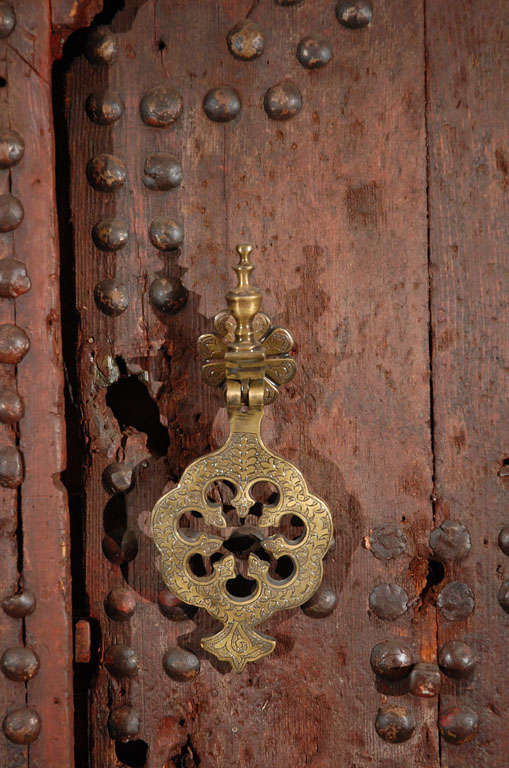19th C. Large Moroccan Ryad Studded Moorish Antique Door In Fair Condition For Sale In North Hollywood, CA