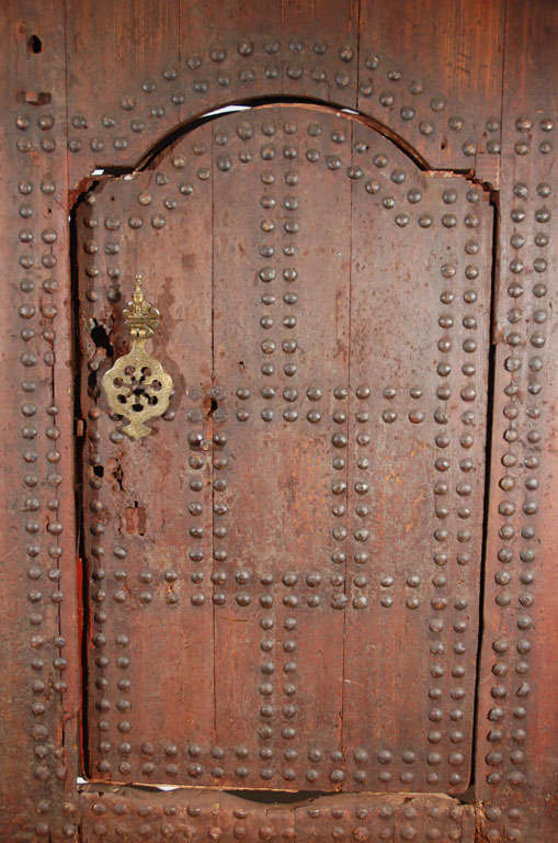 19th Century 19th C. Large Moroccan Ryad Studded Moorish Antique Door For Sale