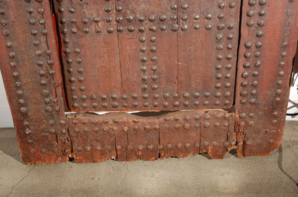 Iron 19th C. Large Moroccan Ryad Studded Moorish Antique Door For Sale