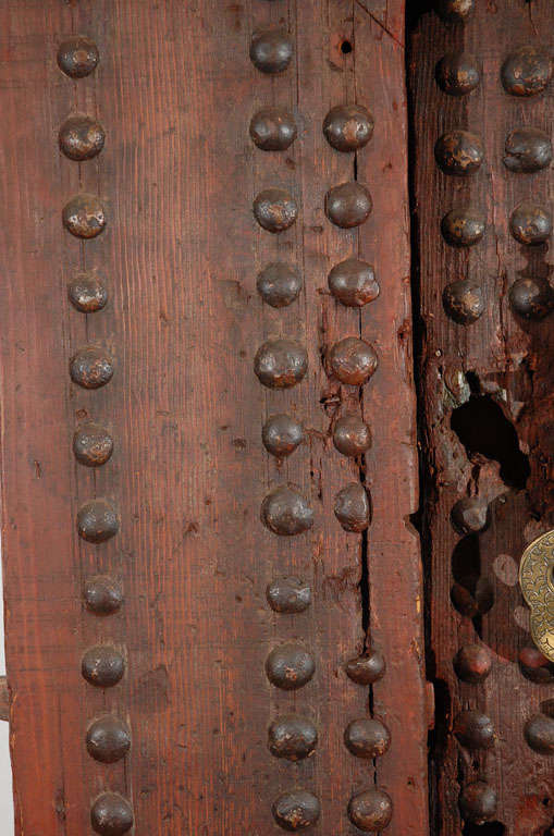 19th C. Large Moroccan Ryad Studded Moorish Antique Door For Sale 1