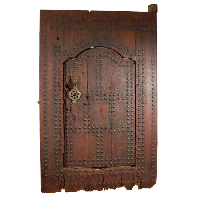 19th C. Large Moroccan Ryad Studded Moorish Antique Door For Sale - 19th C. Large Moroccan Ryad Studded Moorish Antique Door For Sale At