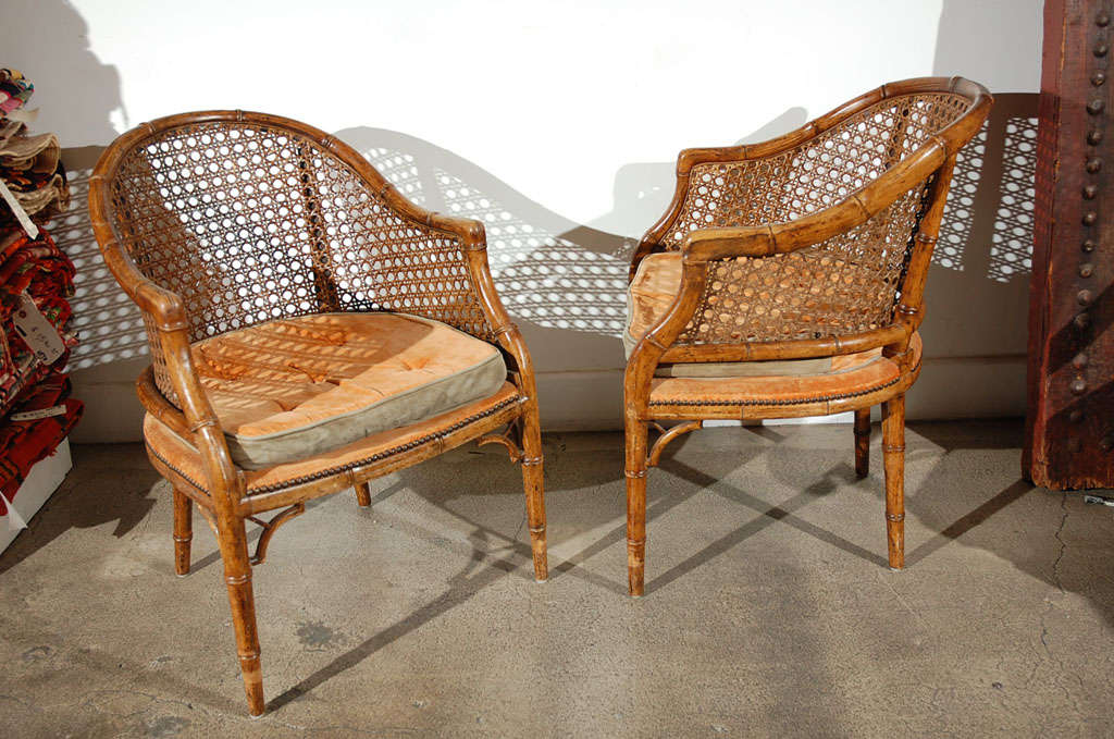 Faux Bamboo French Club Chairs With Cane At 1stdibs