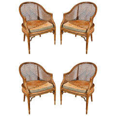 Faux Bamboo French Club chairs with Cane