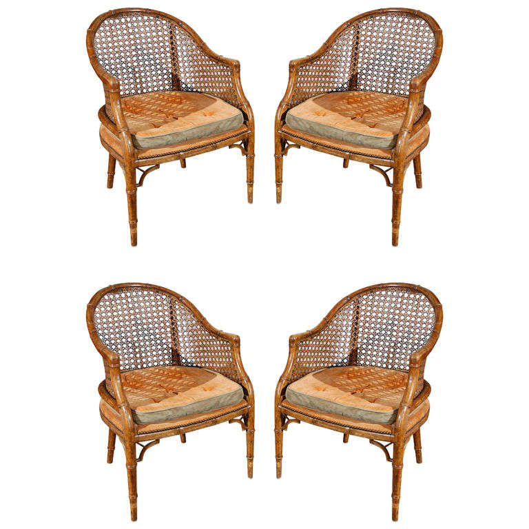 This napoleon iii club chair is no longer available - Faux Bamboo French Club Chairs With Cane At 1stdibs