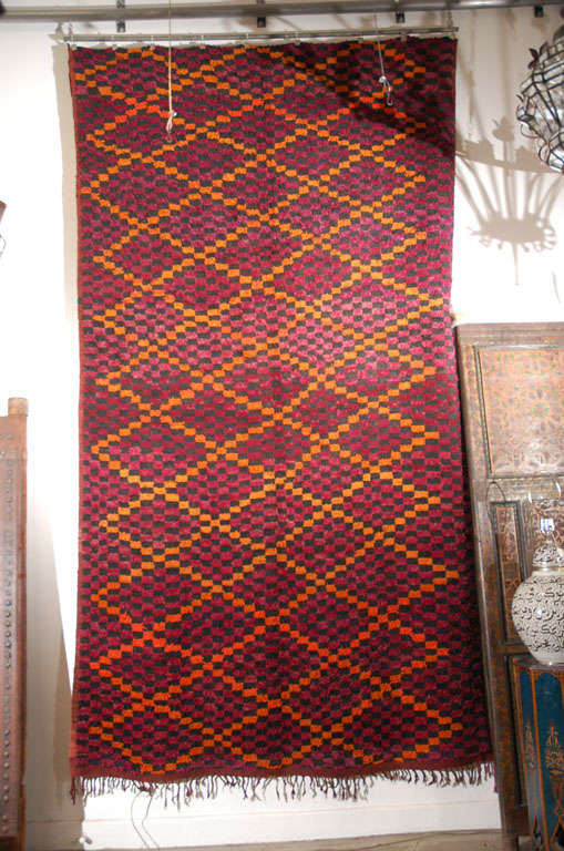 Hand-Woven Vintage Moroccan Large Pile Tribal Rug For Sale