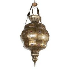 Moroccan Granada Moorish Brass Chandelier, Alberto Pinto