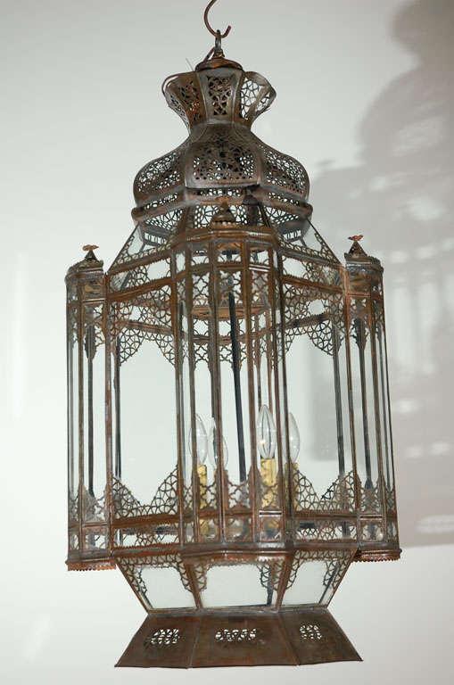 Large Vintage Moroccan Moorish Glass Light Fixture For