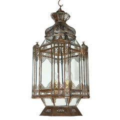 Large Vintage Moroccan Moorish Glass Light Fixture