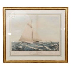 """19th Century Painted Lithograph Depicting Yacht """"Julia"""""""
