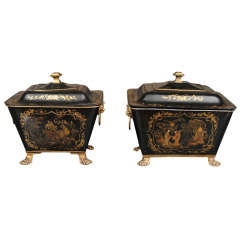 Two Mid 19th Century  Painted Tole Lidded Buckets