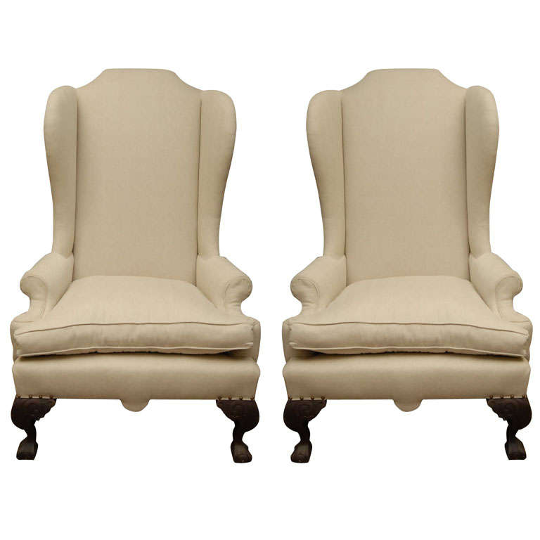 Exceptionnel Pair Of High Back Wing Chairs For Sale