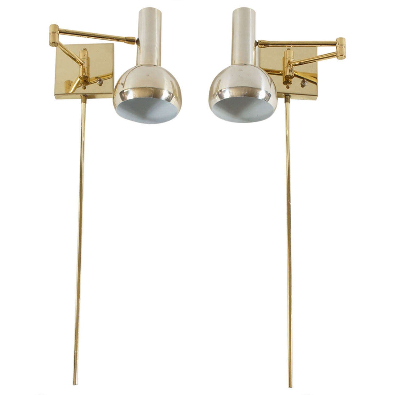 Wall Lights In Sheffield : Vintage Brass Swing-Arm Wall Mount Reading Lamps - Italy, c. 1970 at 1stdibs
