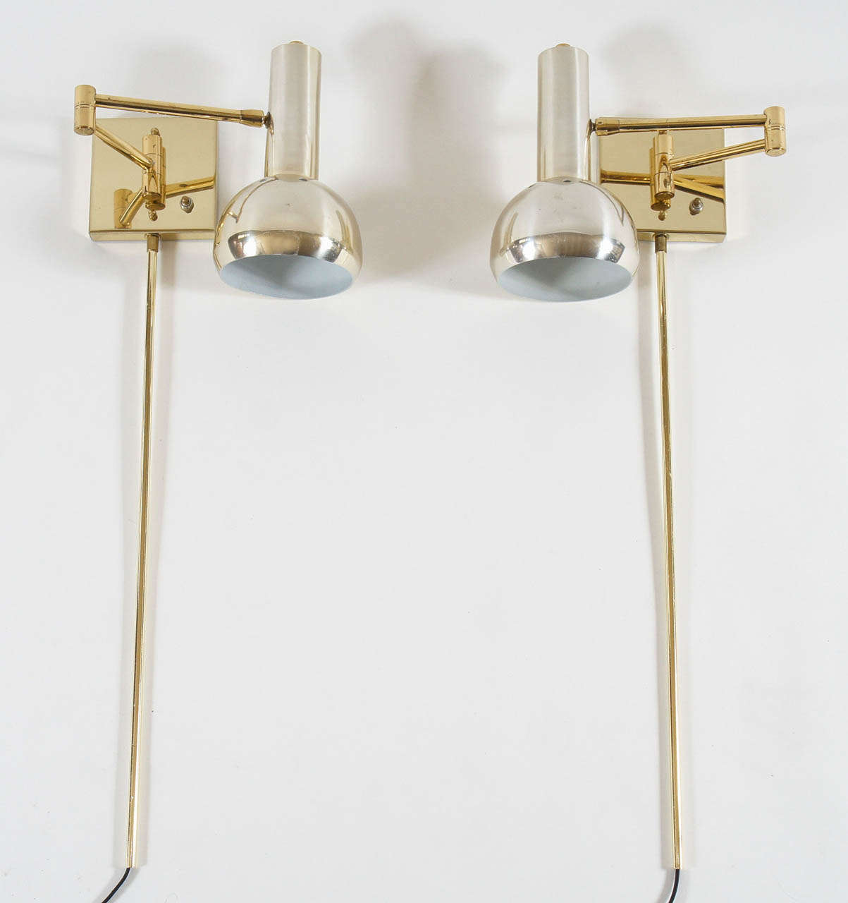 vintage brass swing arm wall mount reading lamps italy c 1970. Black Bedroom Furniture Sets. Home Design Ideas