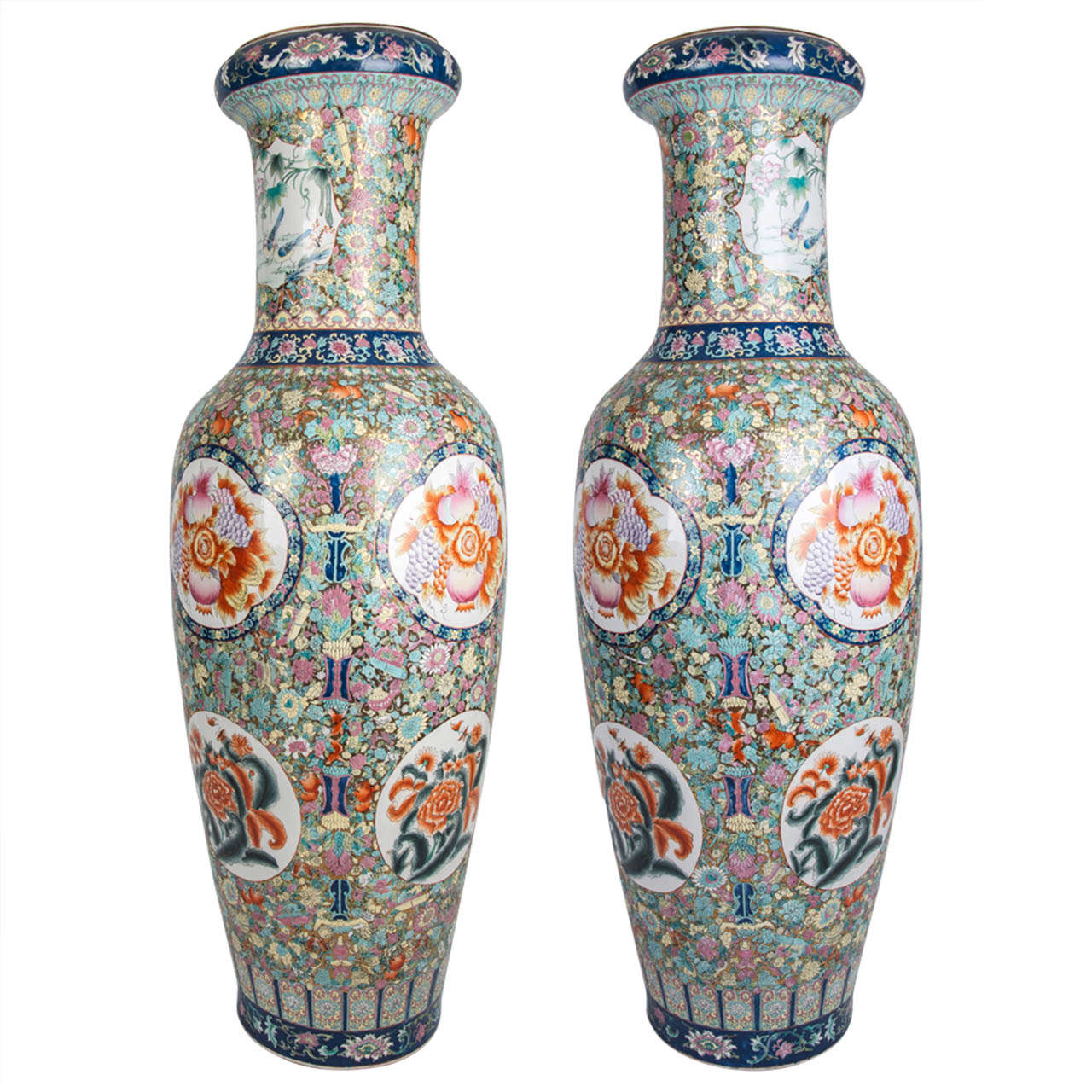Superb Pair Very Tall Chinese Porcelain Palace Floor