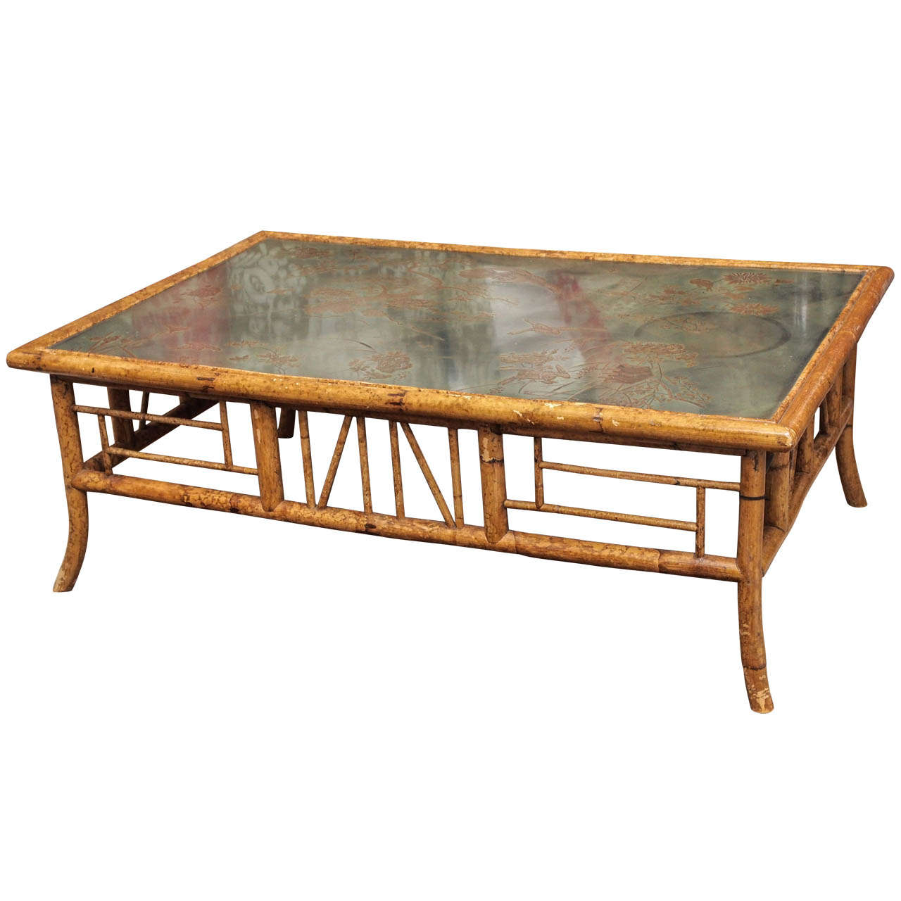 Vintage English Bamboo Coffee Table At 1stdibs