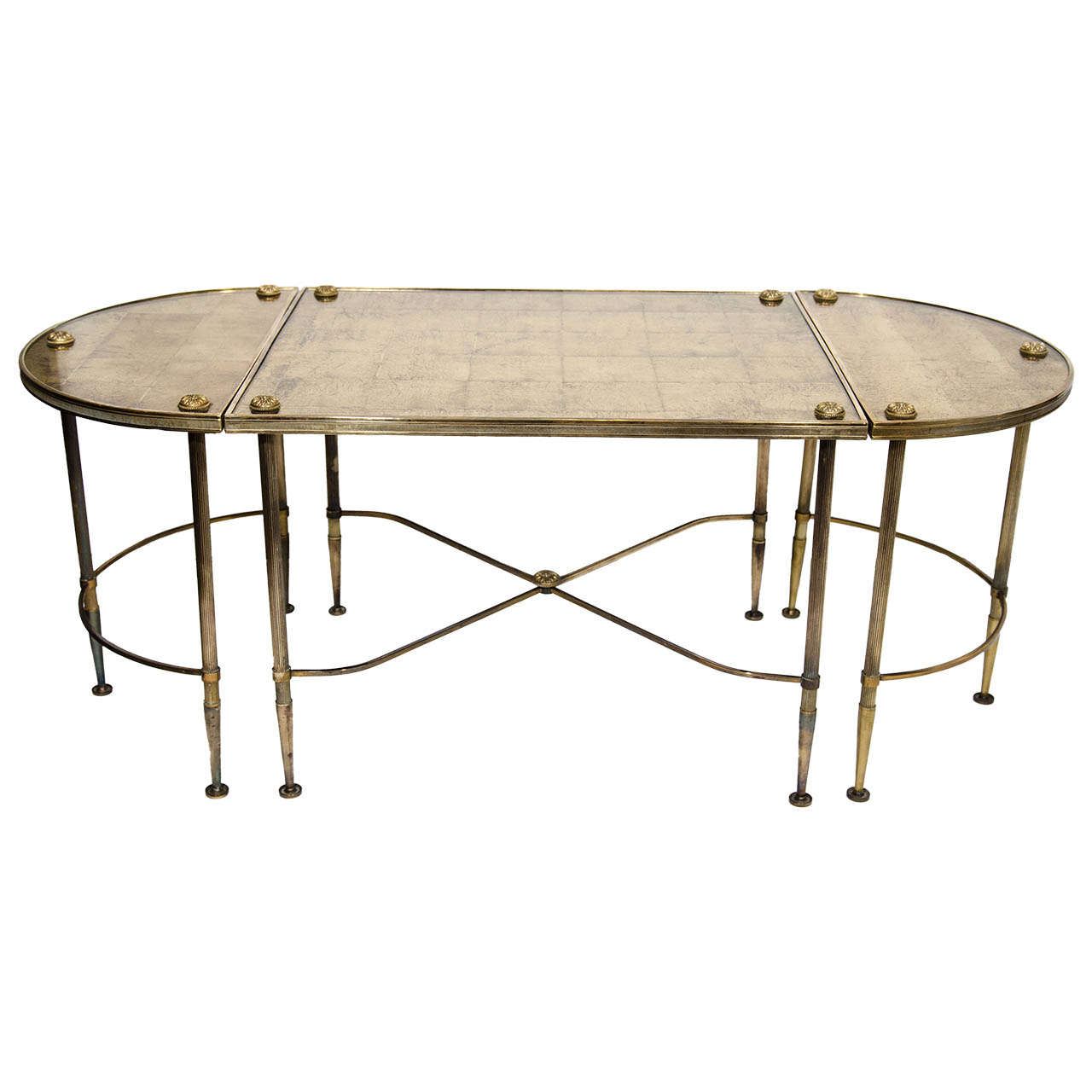 Directoire style cocktail table set with gilt eglomise for Cocktail tables parts