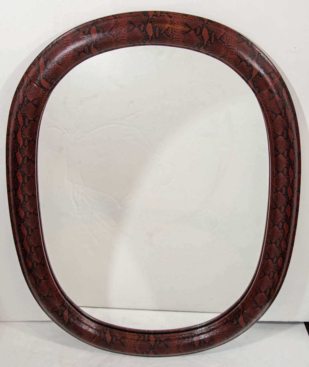 American Mid-Century Modern Red Snakeskin Mirror in Embossed Leather For Sale