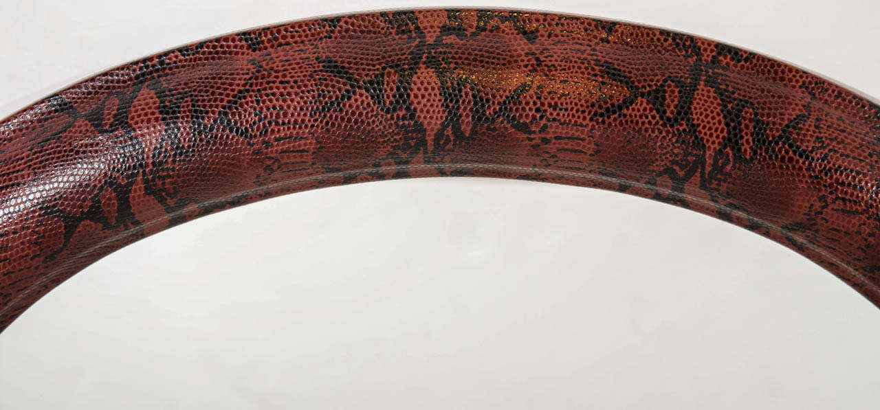 Hand-Carved Mid-Century Modern Red Snakeskin Mirror in Embossed Leather For Sale