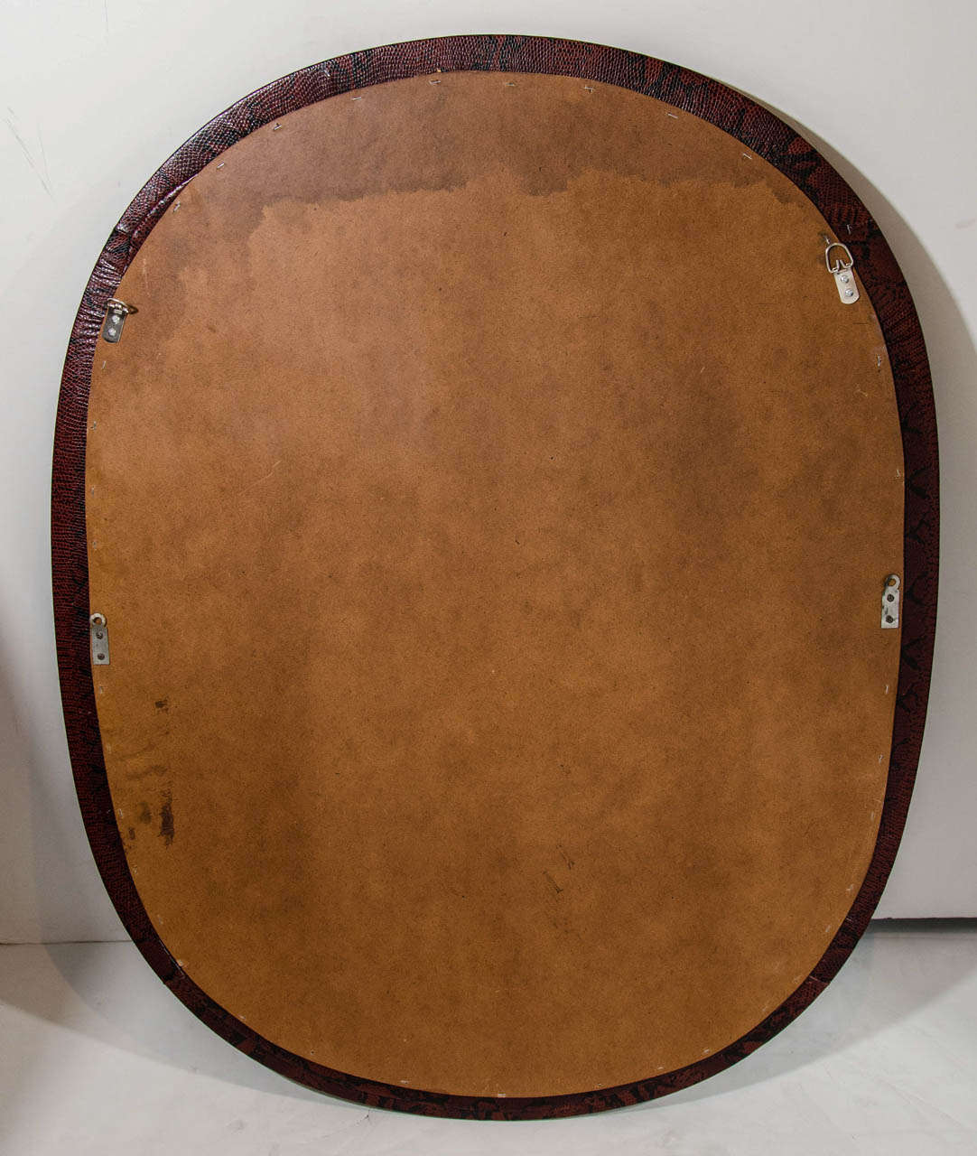 Mid-Century Modern Red Snakeskin Mirror in Embossed Leather For Sale 1