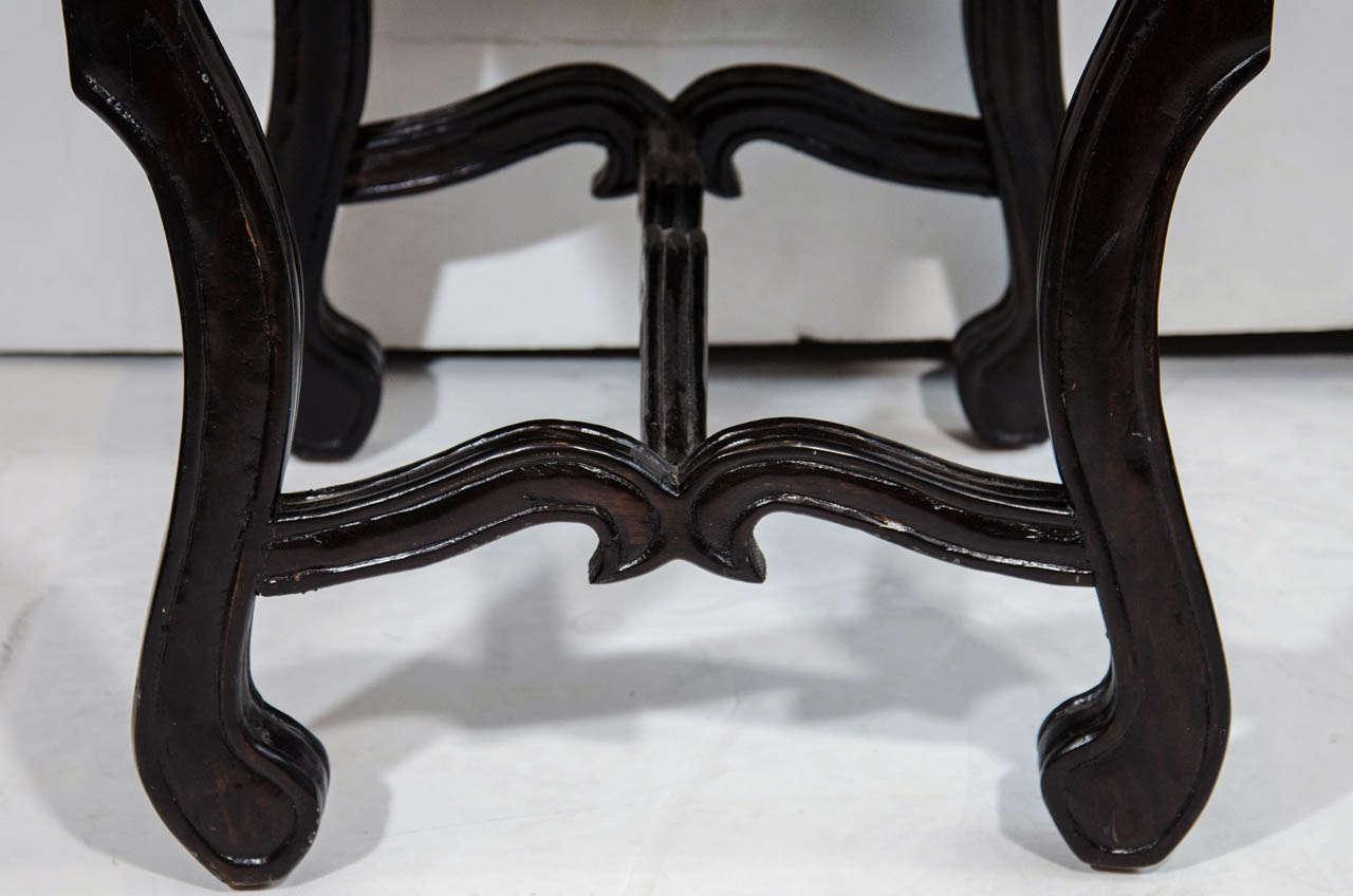Hand-Carved Hollywood Regency Velvet Stool with Carved Wood Base For Sale