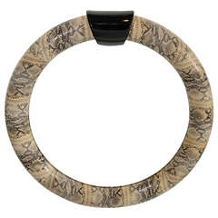 Mid-Century Modern Embossed Leather Snakeskin Mirror