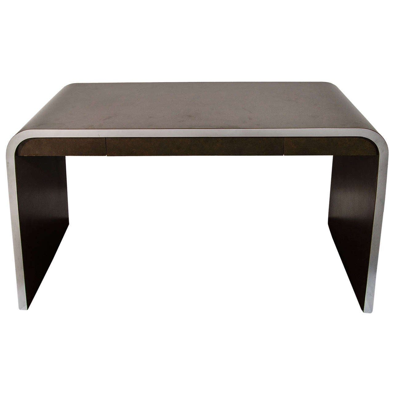 Mid-Century Modern Streamline Waterfall Desk and Console Table For Sale