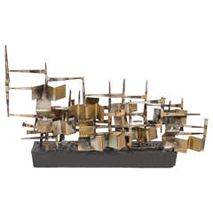 1960's Mixed Metal Brutalist Sculpture Attributed to Silas Seandel