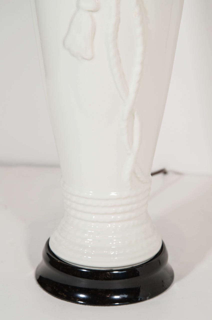 Glazed Hollywood Regency Porcelain Lamps with Rope & Tassel Design For Sale