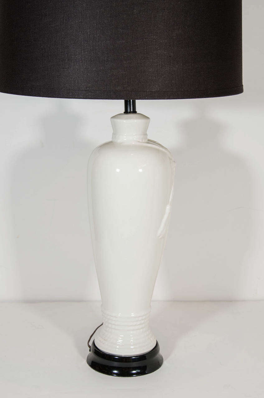 Hollywood Regency Porcelain Lamps with Rope & Tassel Design In Excellent Condition For Sale In Stamford, CT