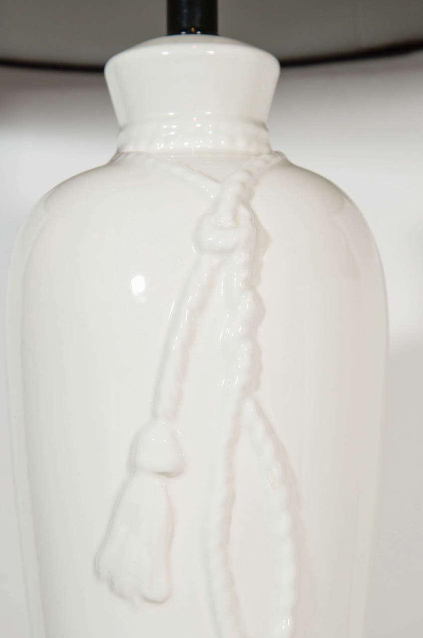 Ceramic Hollywood Regency Porcelain Lamps with Rope & Tassel Design For Sale