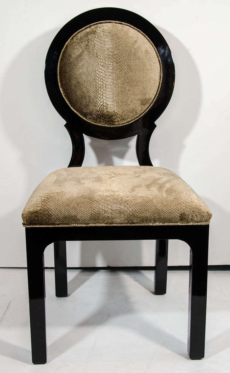Pair of Hollywood Regency Side Chairs in Luxurious Embossed Velvet 3