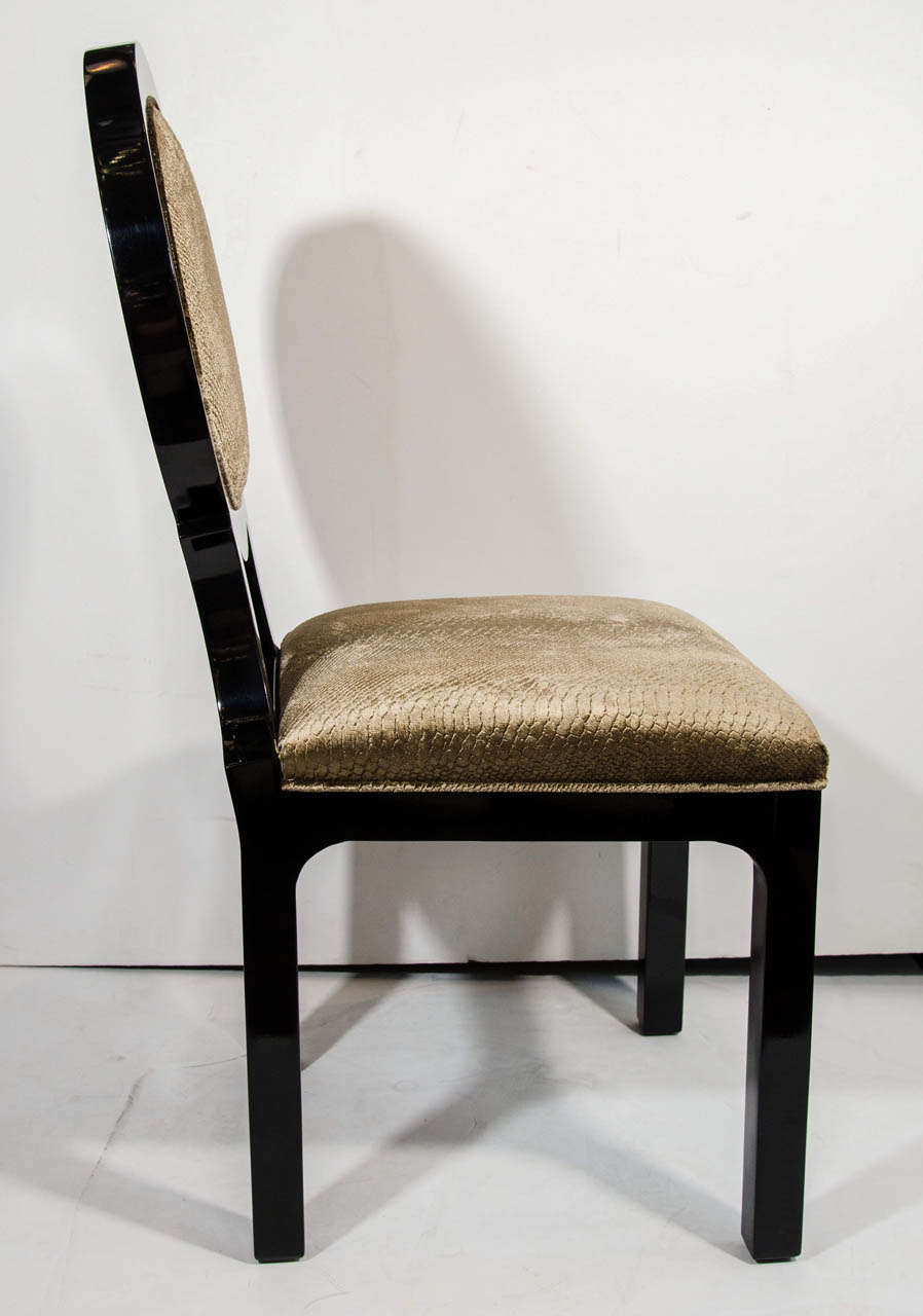 Pair of Hollywood Regency Side Chairs in Luxurious Embossed Velvet 6