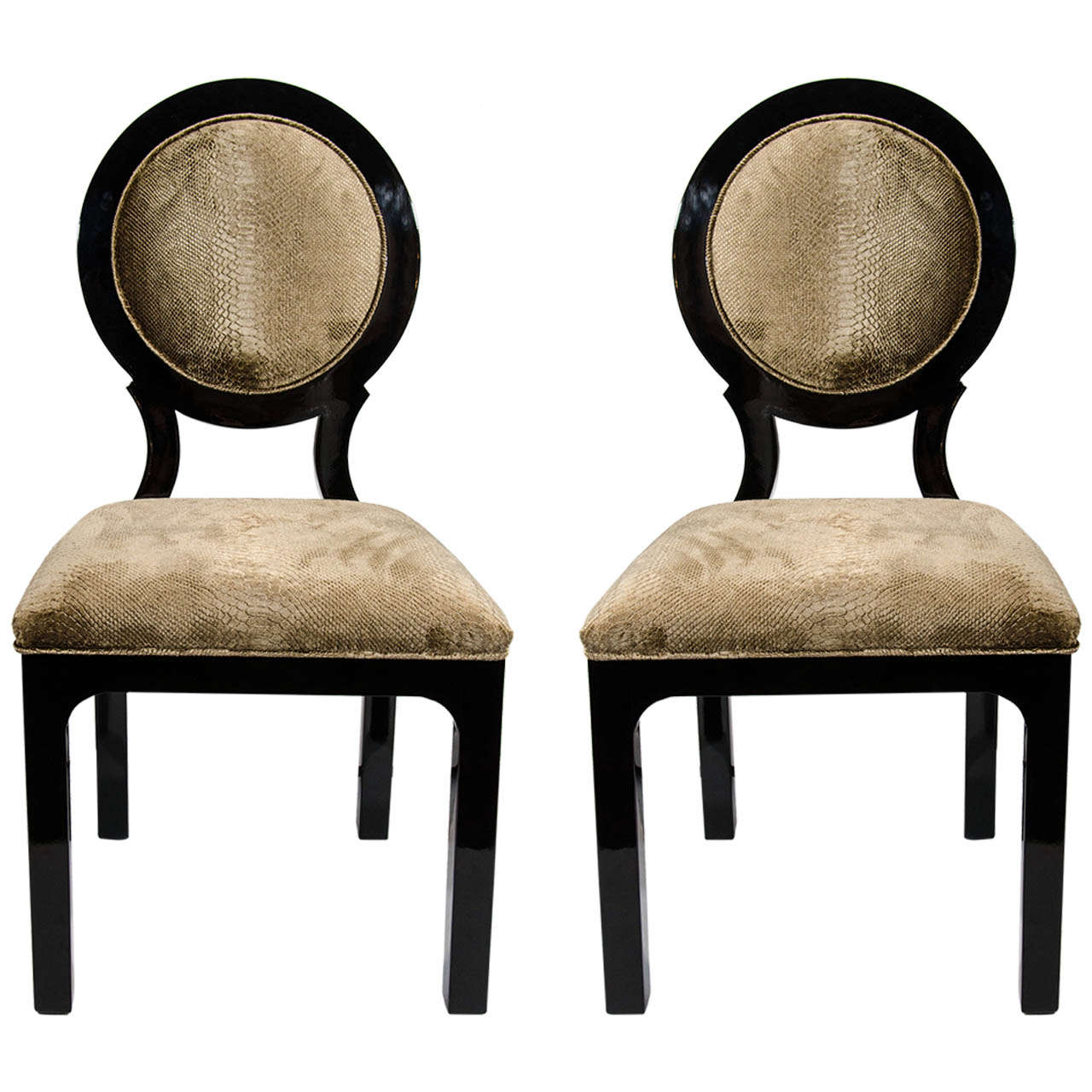 Pair of Hollywood Regency Side Chairs in Luxurious Embossed Velvet 1