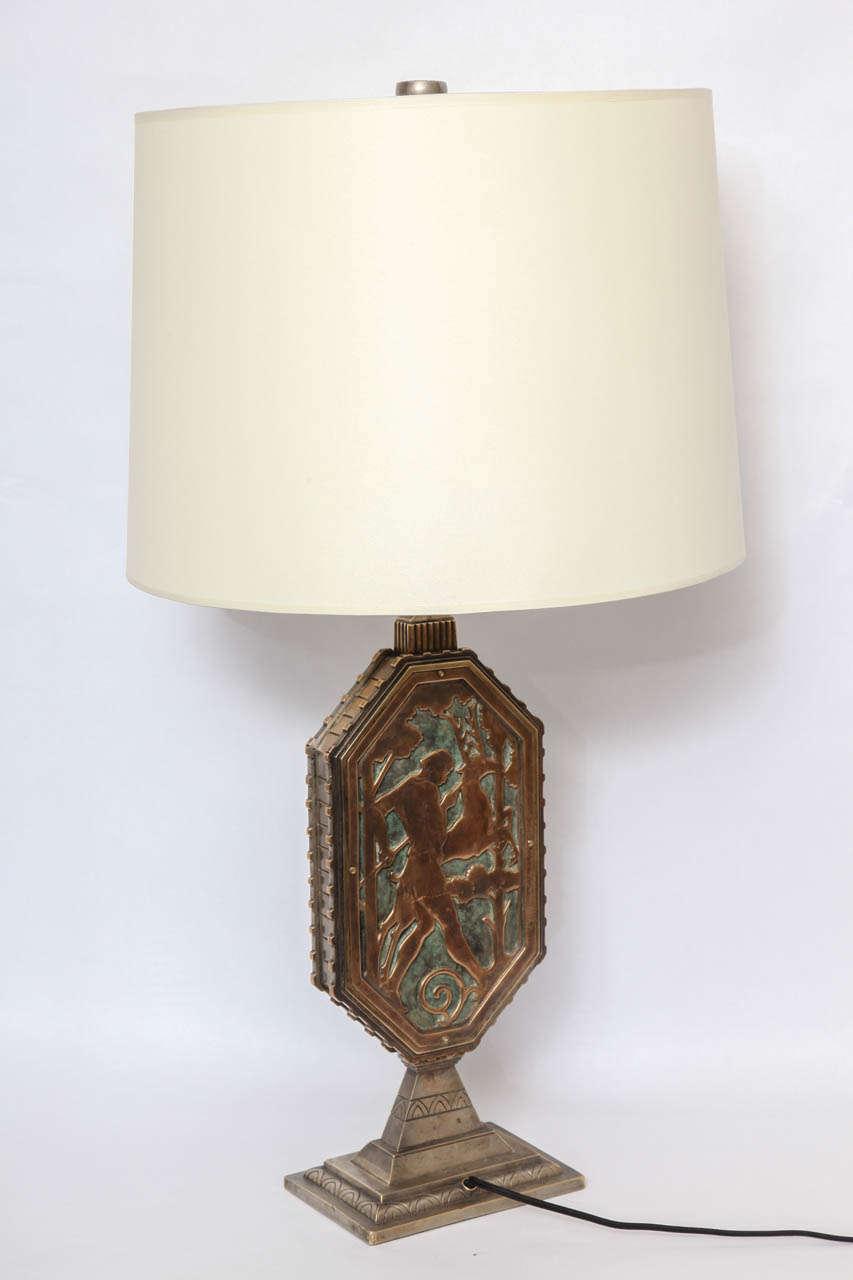 Oscar Bach 1920s Art Deco Lamp, Signed 2