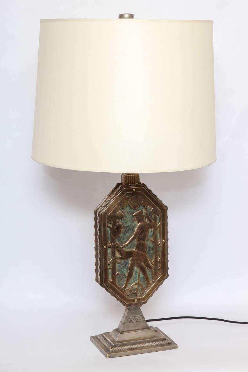 Oscar Bach 1920s Art Deco Lamp, Signed 3
