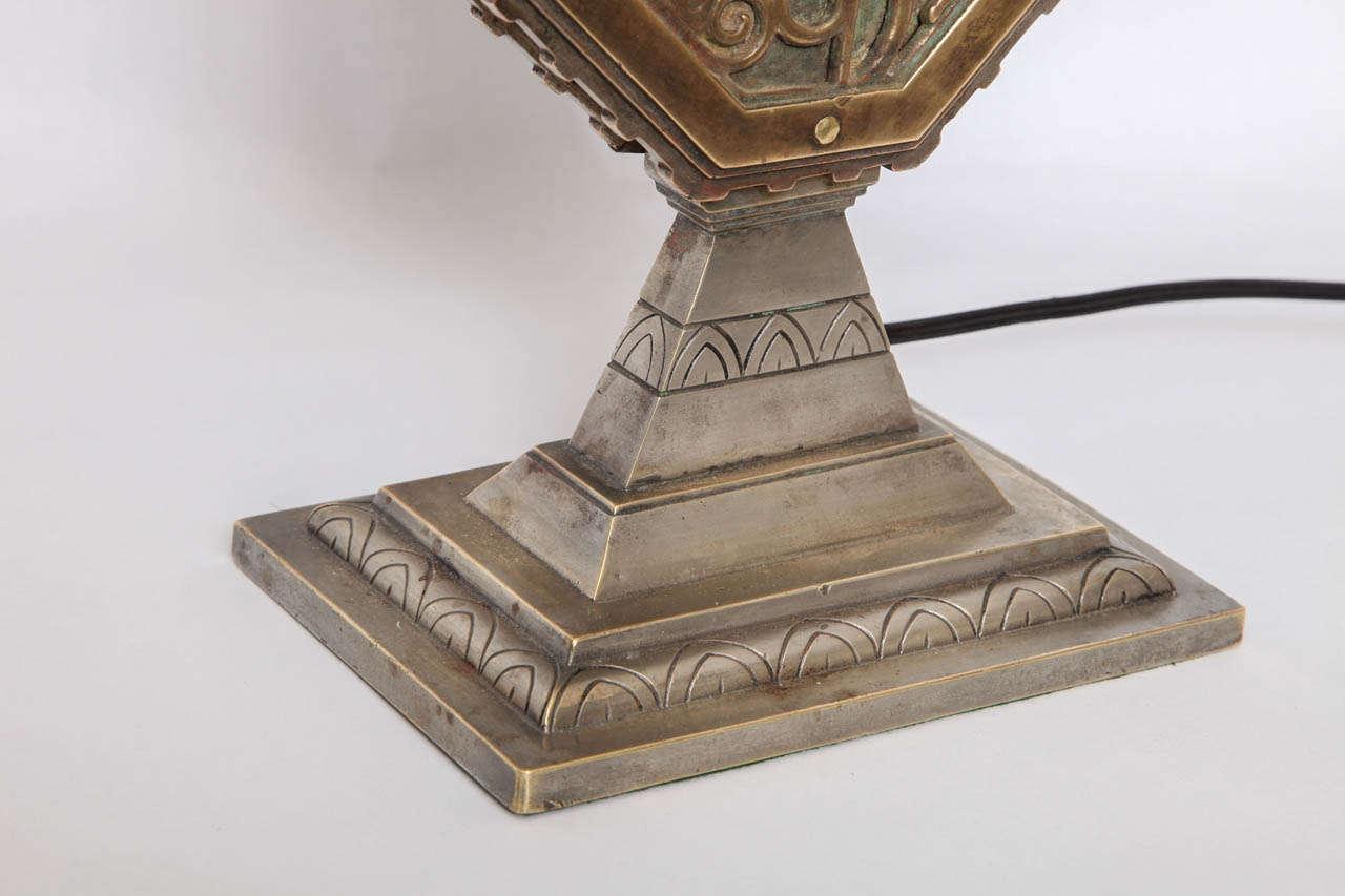 Oscar Bach 1920s Art Deco Lamp, Signed 5