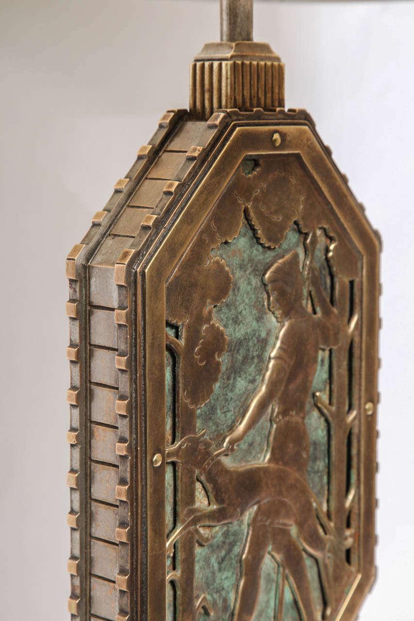 Oscar Bach 1920s Art Deco Lamp, Signed 6