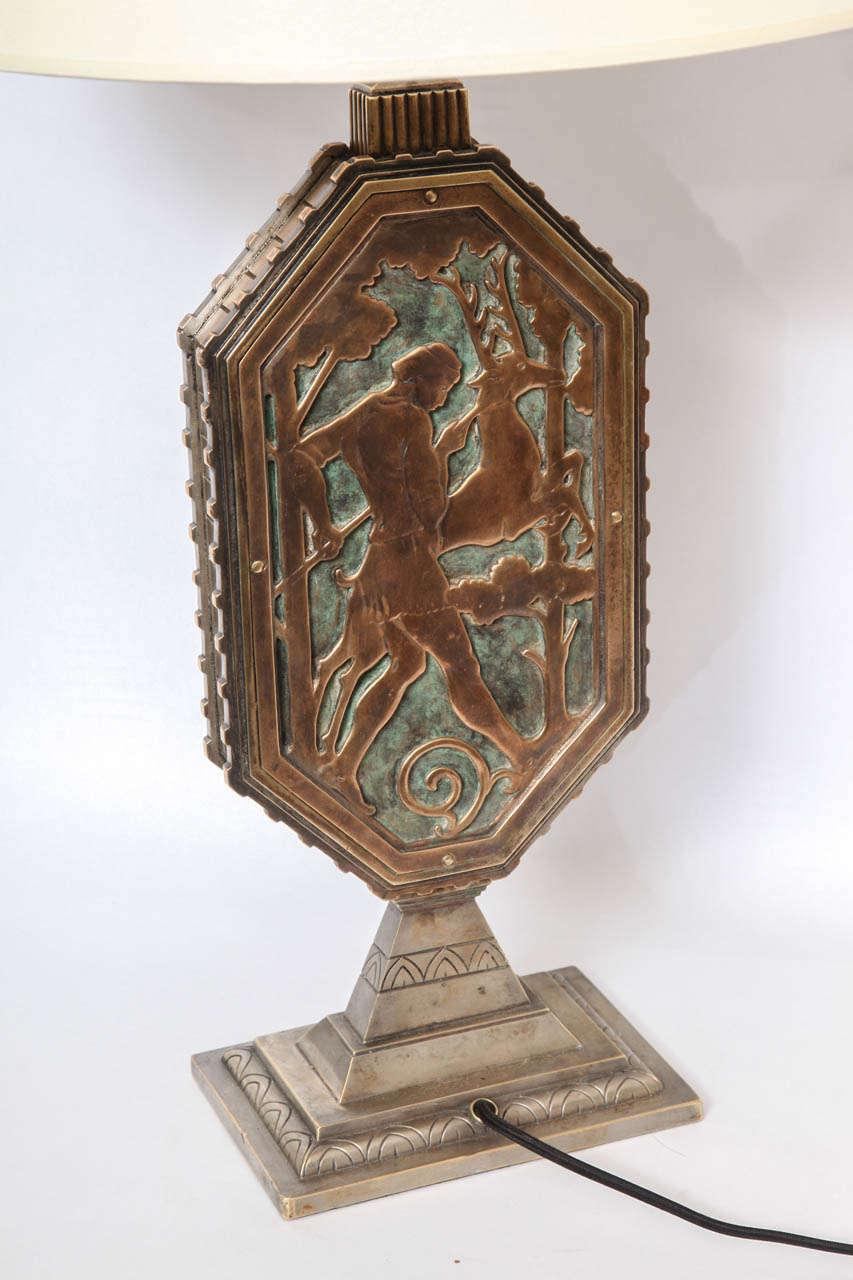 Oscar Bach 1920s Art Deco Lamp, Signed 7