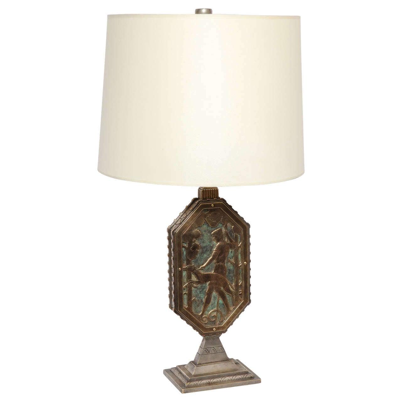 Oscar Bach 1920s Art Deco Lamp, Signed 1