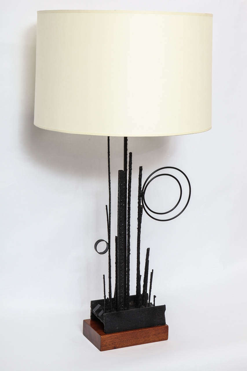 A Pair Of Italian 1950s Abstract Expressionist Hand Wrought Iron Table Lamps Shades Not