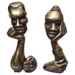 Pair of 1930s Sculptural Bronze Andirons