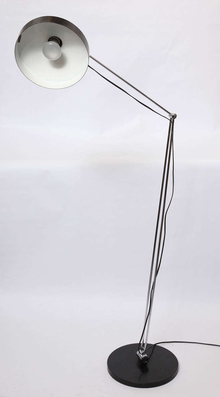 Metal 1950s Articulated Floor Lamp by Rico & Rosemary Battensweller, Switzerland For Sale
