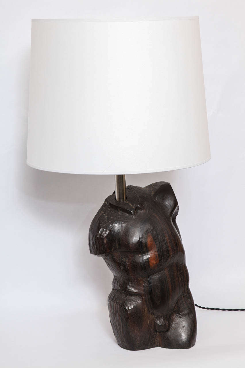 Mid-Century Modern Table Lamp Art Moderne Male Torso Carved Wood, 1940s For Sale