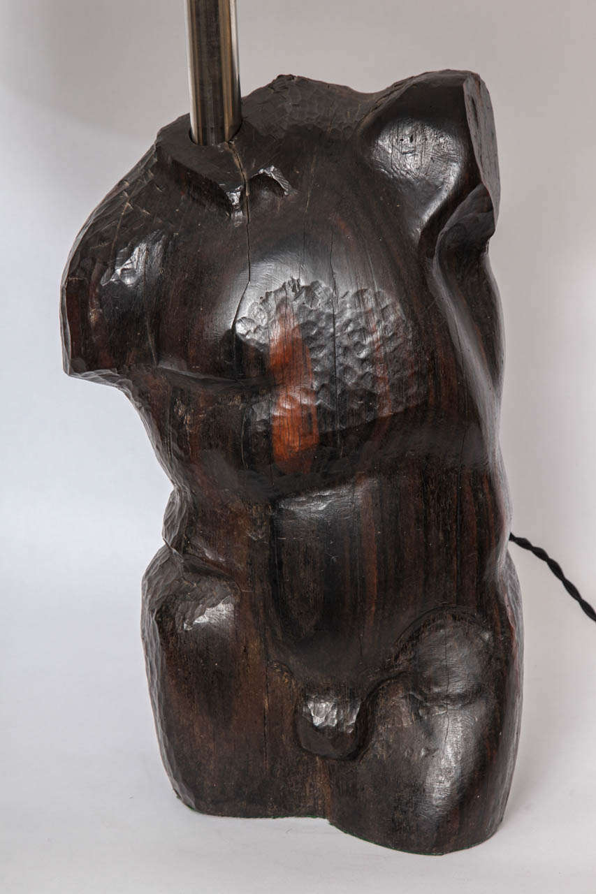 Table lamp art moderne male Torso carved wood, 1940s New sockets and rewired Shade not included.