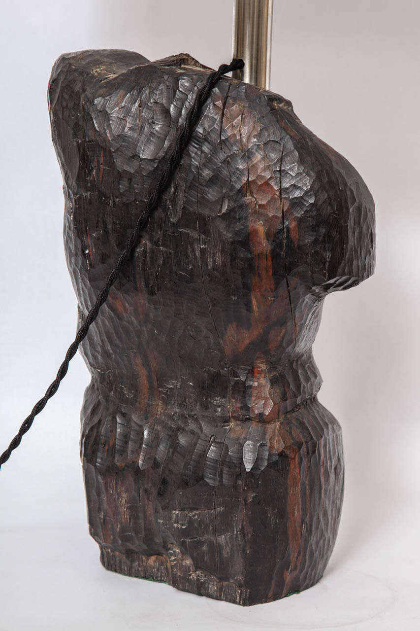 Mid-20th Century Table Lamp Art Moderne Male Torso Carved Wood, 1940s For Sale