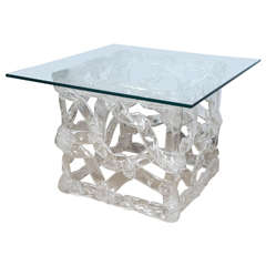 Lucite Table with Glass Top