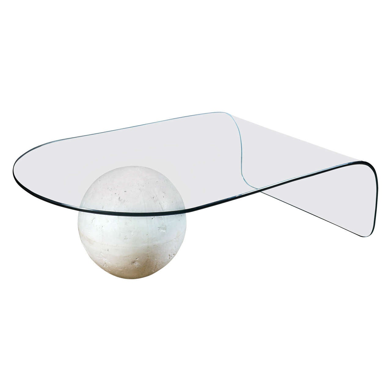 Glass coffee table with plaster sphere base at 1stdibs Glass coffee table base