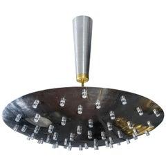 UFO Shaped Metal and Plexiglass Chandelier