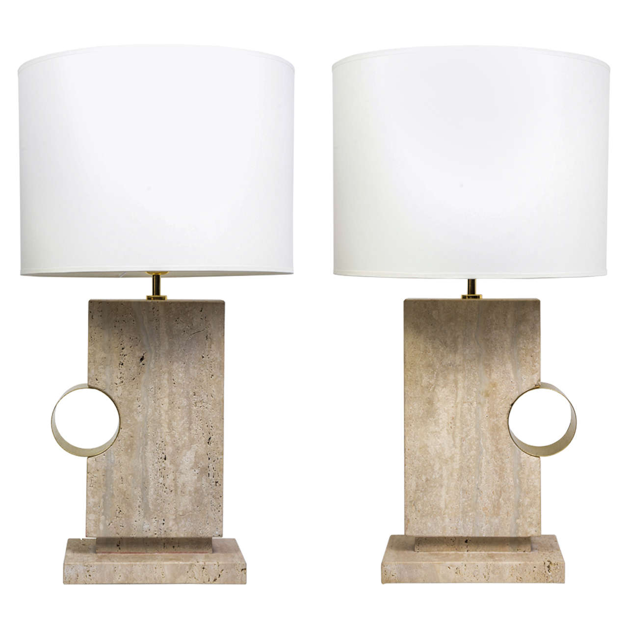 Pair of elegant concrete and brass table lamps at 1stdibs pair of elegant concrete and brass table lamps 1 geotapseo Choice Image