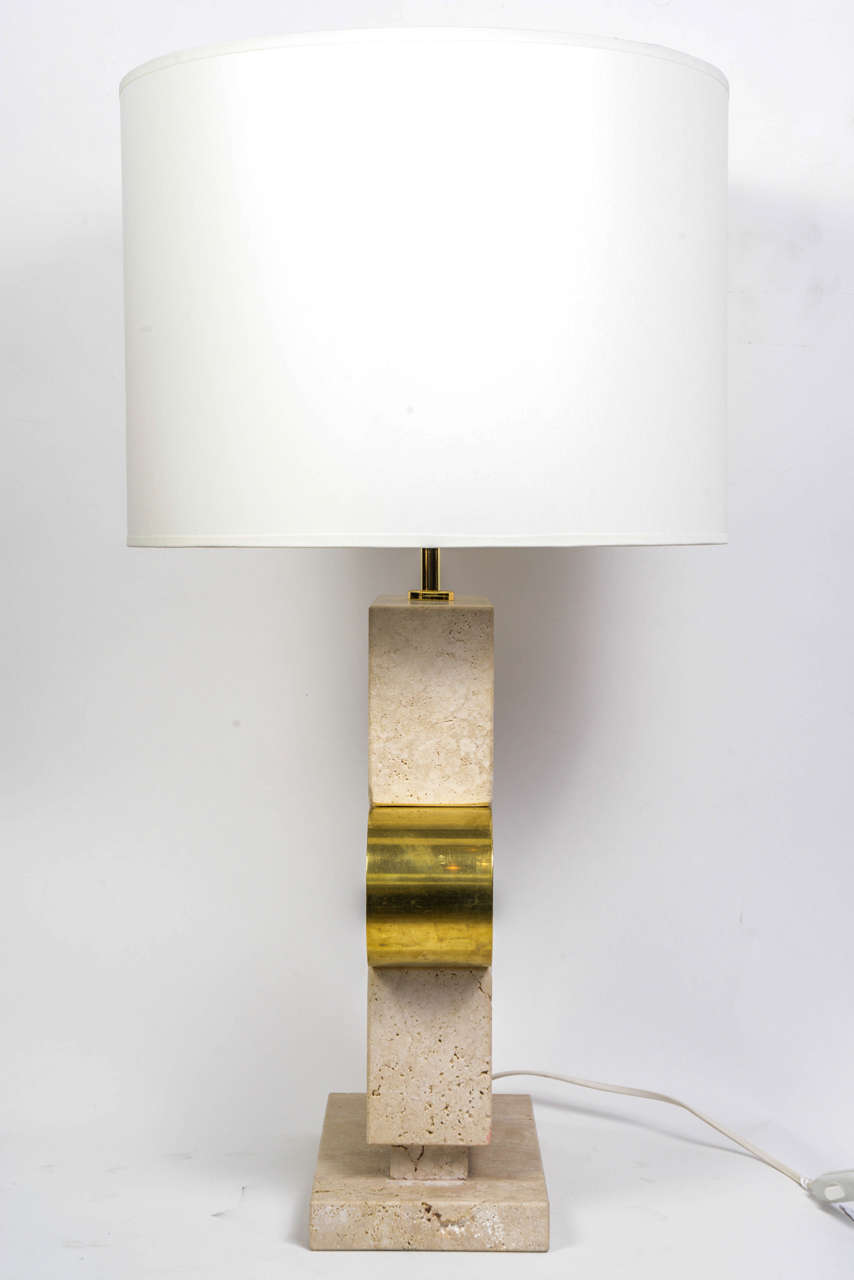 Pair Of Elegant Concrete And Brass Table Lamps At 1stdibs